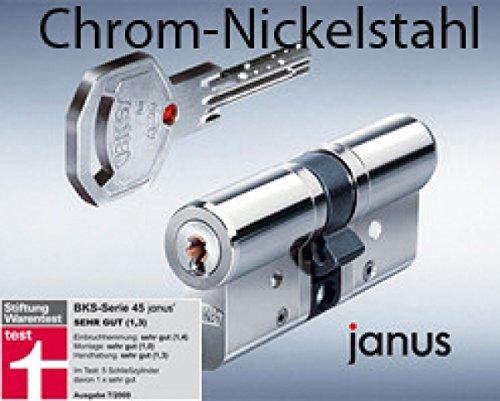 BKS Profilzylinder Janus 46 Chrom -Nickelstahl ink. Sicherungskarte / mit 5 Schlüsseln Maße A 35 / I 45 mit Not und Gefahrenfunktion und höchster Sicherungsklasse VDS