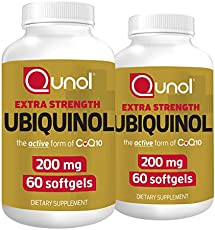 Qunol Ubiquinol 200mg, Powerful Antioxidant for Heart and Vascular Health, Essential for Energy Production, Natural Supplement Active Form of CoQ10, 60 Count Twin Pack