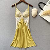 CIDCIJN Camisón De Pijama De Mujer - Sexy Deep V-Neck Breathable Nightwear Satin Sleepwear Elegant Summer Homewear Lady Satin Lace Nightdress Women Soft Nightgowns,Yellow,L