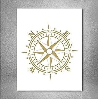 Nautical Compass Wall Art, Coastal Decor, Nautical Nursery, Gold Beach Home Print, Unique Baptism Gift, Copper Foil Print, Gold Office Decor A4