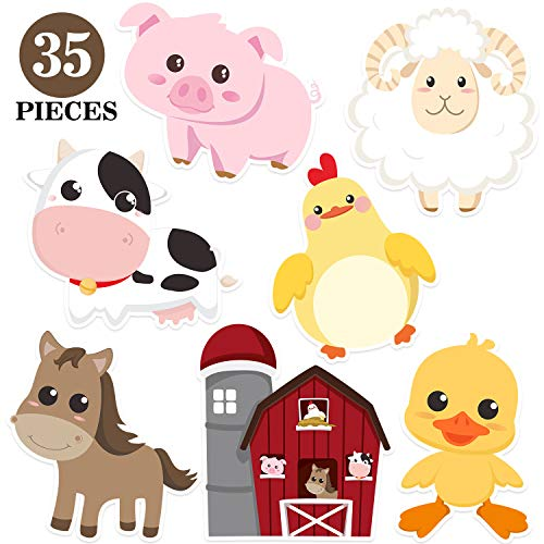 Blulu Farm Animal Party Decorations and Supplies, Farm Animals Decor for Baby Shower, Birthday Party Essentials with 80 Glue Point Dots (35 Pieces Farm Animal Cutouts)