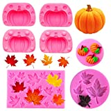 Rainmae 5Pcs Autumn 3D Pumpkin Silicone Mold, Mini Pumpkin Mold for Thankgiving Cupcake Molds, Maple...