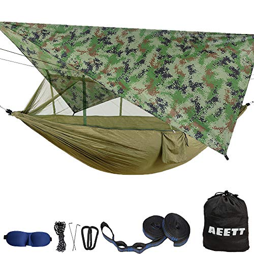AEETT Camping Hammock with Mosquito Net and Rain Fly - Double Hammock Bug Net - Hammock Tent for Outdoor Hiking Campin Backpacking Travel (Camouflage, Large)