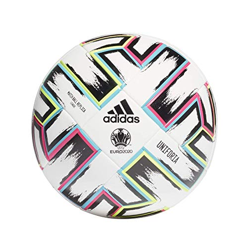 adidas Men\'s UNIFO LGE XMS Soccer Ball, White/Black/Signal Green/Bright Cyan, 5