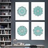 Cuadros de mandala de arte de pared para decoración de sala de estar carteles de mandala dorado impresiones lienzo pintura botánica flor boho moderna / 30x50cmx4 sin marco