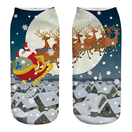 Deloito Frohe Weihnachten Socken Damen Arbeit Freizeit Mittel Strümpfe Santa Geschenke Elch 3D Drucken Weihnachtssocken Mädchen Sport Stricksocken (B8,Freie Größe)