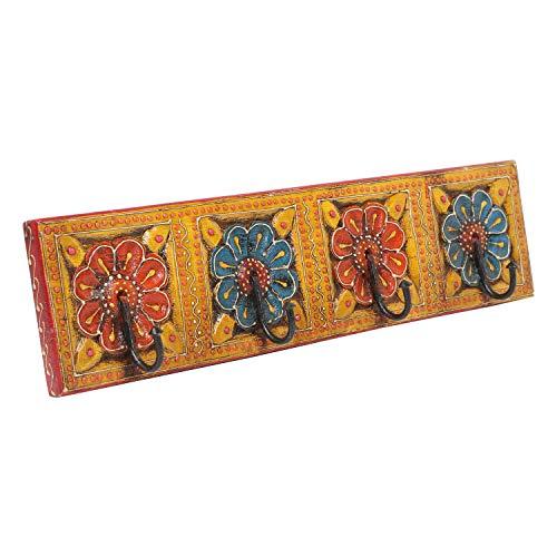 | Perchero oriental Antara D pintado a mano con 4 ganchos 46 x 6 x 11,5 cm WxDxH de madera maciza | perchero de pared en hermosos diseños florales | MA13 04 D