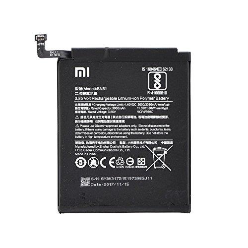 Batteria Originale Xiaomi BN31 - Batteria da 3000mAh Li-Ion de Capacità Carica Veloce 2.0 Compatibile con il Xiaomi Mi 5X, Xiaomi Redmi Note 5A, Xiaomi Mi A1 - Bulk
