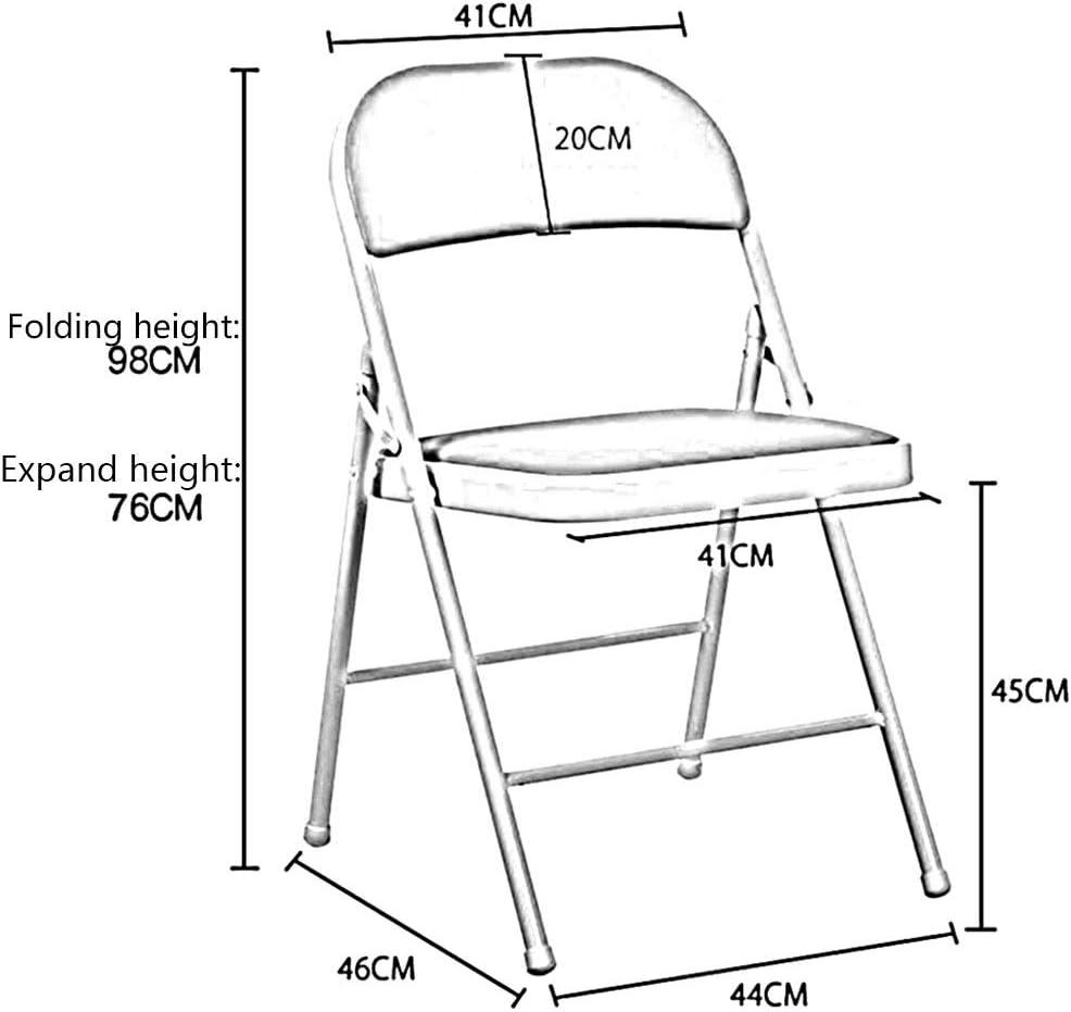 GLJJQMY Chaise Pliante Portable Chaise de Bureau Accueil Salle à Manger Chaise Fer Cadre Ordinateur Chaise 76X46X44cm2 Ensemble Chaise empilable (Color : Red) White