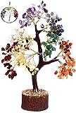 KACHVI Árbol de Cristal Árbol de Cristal de Siete Chakras para decoración de Oficina en casa. Bonsai Money Tree para Piedras y Cristales curativos de energía 500 Cuentas de Alambre de Oro