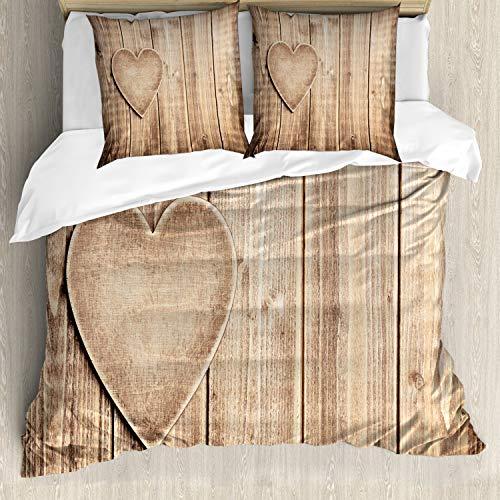 ABAKUHAUS valantines Tag Bettbezugs Set Für Doppelbetten, Rustikales Herz, Milbensicher Allergiker geeignet mit Kissenbezügen, Tan