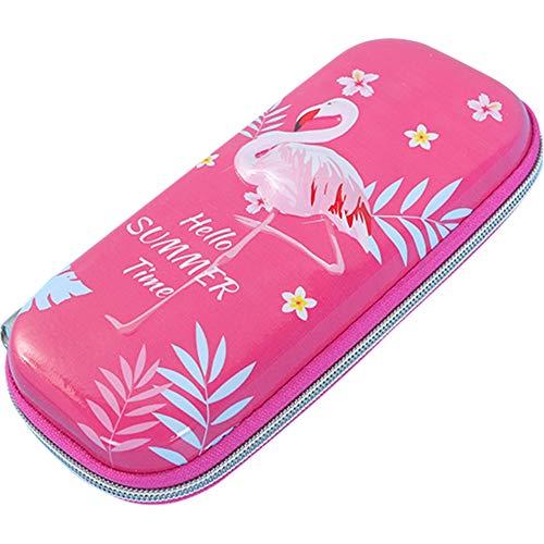 Umora ペンケース 筆箱 ペンボックス 大容量 筆入れ ペンポーチ 化粧ポーチ かわいい 多機能ケース(フラミンゴ ローズ)