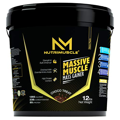 NUTRIMUSCLE MASSIVE MASS GAINER - 12LBS - CHOCO TREAT FLAVOUR - FOR MUSCLE AND MASS GAIN - MADE IN INDIA