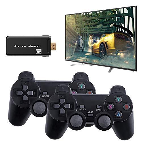 Consola de juegos inalámbrica, 4K HDMI Mini consola de videojuegos con USB Game Stick, 2.4G Bluetooth 8 bits Salida de controlador retro reproductor dual, incorporado 3500 juego clásico