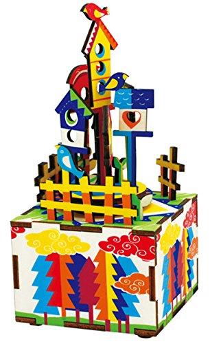 Musicbox World poser 44504 Castle in the sky Scie sauteuse en 32 pièces et un mécanicien Mouvement. pour Construire à facilement sans outils., bois, Multi, 560 g
