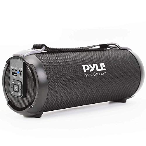 "Wireless Portable Bluetooth Boombox Speaker - 100 Watt Rechargeable Boom Box Speaker Portable Music Barrel Loud Stereo System with AUX Input, MP3/USB/SD Port, Fm Radio, 2.5"" Tweeter - Pyle PBMSPG3BK"