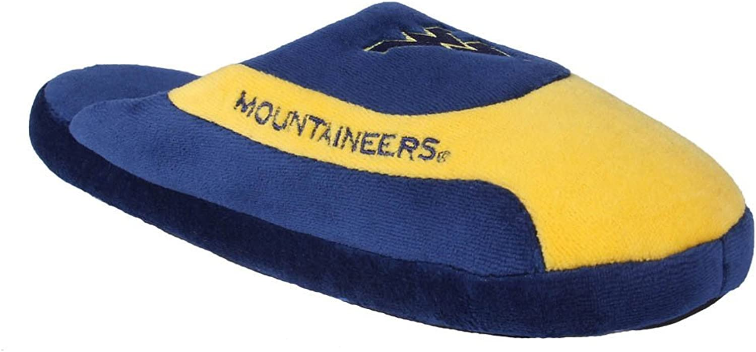 WVA07-3 - West Virginia Mountaineers - Large - Happy Feet Mens and Womens - NCAA Low Pro Slippers