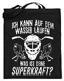 Chorchester Eishockey Spieler Laufen auf Wasser - Jutebeutel (mit langen Henkeln) -38cm-42cm-Schwarz