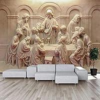 3D写真壁紙立体レトロ彫刻像アート壁画リビングルームレストラン研究室装飾壁画-350x256cm