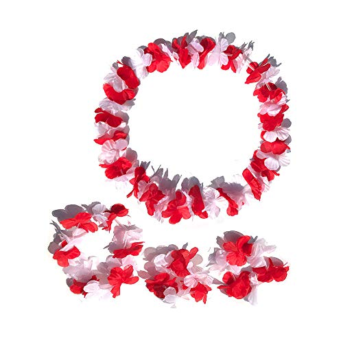 LITTLE FEATHER Red and White Leis for Tropical Hawaiian Luau Christmas Party Flower Headband Bracelets Party Favors,Set of 4
