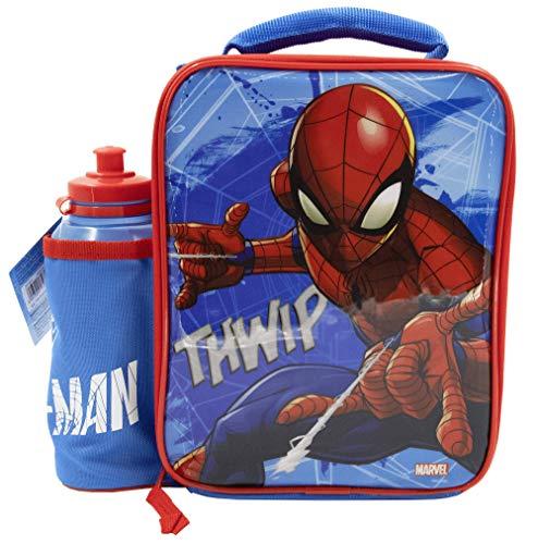 Marvel Spiderman - Juego de fiambrera con botella, contenedor de alimentos para niños, bolsa térmica para comida merienda