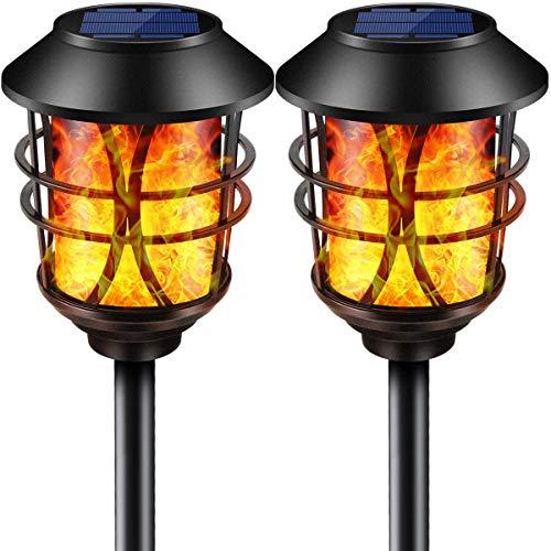 Puaida Solarleuchte Garten Metall Fackel, 99 LED Solarlampen für Außen mit Automatische Ein/Aus (Licht Sensor), IP65 Wasserdicht realistische Flammeneffekt Solar Fackeln (2 PACK)