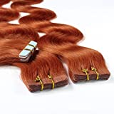 hair2heart 10 x 2.5g Tape In Echthaar Extensions, 60cm - gewellt - #130 kupferrot