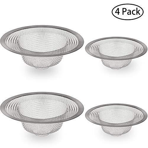 JEZOMONY RVS Slop Basket Filter Trap, Sink Filter, Badkamer Tub Mesh Strainer, voor Keuken, Badkamer, Badkuip, WC, Wasbak Afvoer, 2 grote & 2 kleine (4 Pack)