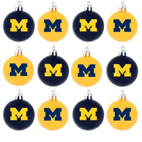 FOCO NCAA Michigan Wolverines 12 Pack Ball Hanging Tree Holiday Ornament Set12 Pack Ball Hanging Tree Holiday Ornament Set, Team Color, One Size
