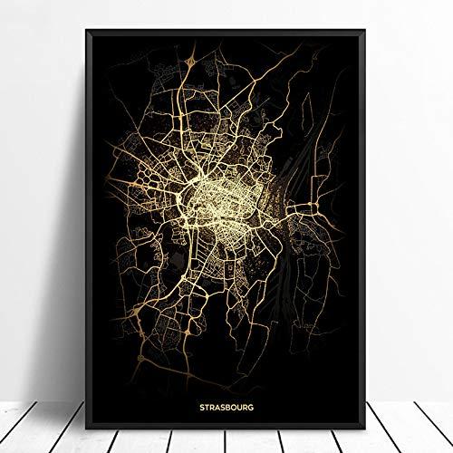 SQSHBBC Strasburgo Mappe Luminose della Città Mappa della Città del Mondo su ordinazione Poster Stampe su Tela Arte della Parete in Stile Nordico Decorazioni per la casa60X90CM Senza Cornice