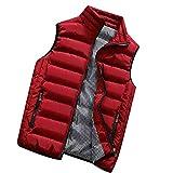 KEERADS HOMME Veste Gilet Casual Chaud Doudoune Vest sans Manche Manteau Blouson Zipper Automne Hiver(FR-52/L,Rouge)