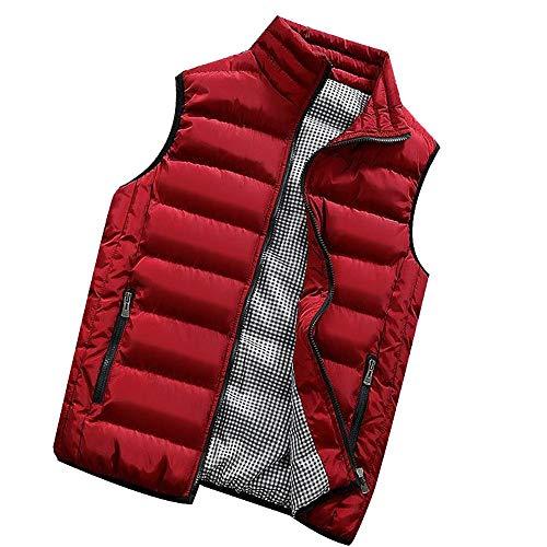 KEERADS HOMME Veste Gilet Casual Chaud Doudoune Vest sans Manche Manteau Blouson Zipper Automne Hiver(FR-54/XL,Rouge)