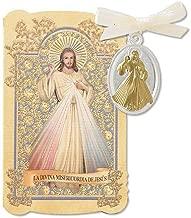 CB Catholic Gift Prayer Folder with Spanish Divine Mercy La Divina Misericordia De Jesus Tu Tone Gold Silver Toned Charm Medal Pendant