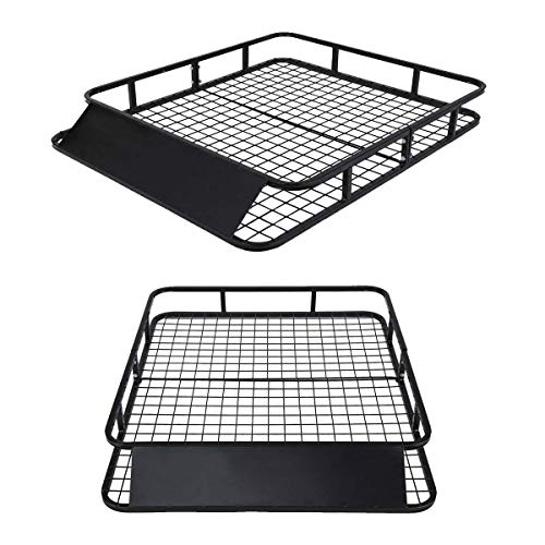 """Ramco 48""""x40"""" Steel Roof Rack Basket Cargo Carrier Holder Black   Durable Sturdy Heavy Duty Easy to Assemble and Install 250LB Capacity Safe   for Home Garage Travel Car Top Vehicle Luggage Transport"""