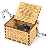 to My dad- U R My Sunshine Music Box Gift Wood Laser Engraved Vintage Musical Box for Dad from Daughter Best Gift for Father's Day/Birthday/Christmas/Thanksgiving Day