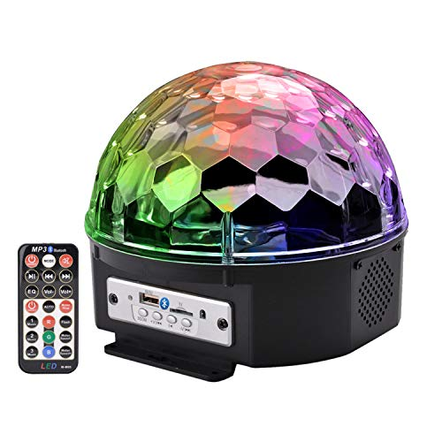 Outgeek DJ Lights, 9 Color LED Bluetooth Stage Lights DJ Stage Lighting Rotating Crystal Magic Ball Light Sound Activated Light with Remote Control MP3 Play and USB for Disco Xmas KTV Club Pub Show