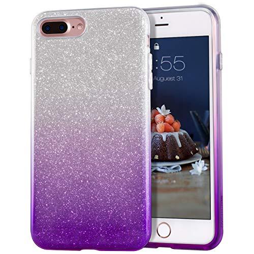MATEPROX Cover iPhone 7 Plus, Cover iPhone 8 Plus Scintillante Splendente Luccicante Colorato per Le Ragazze per iPhone 7 Plus/8 Plus Gradiente Viola