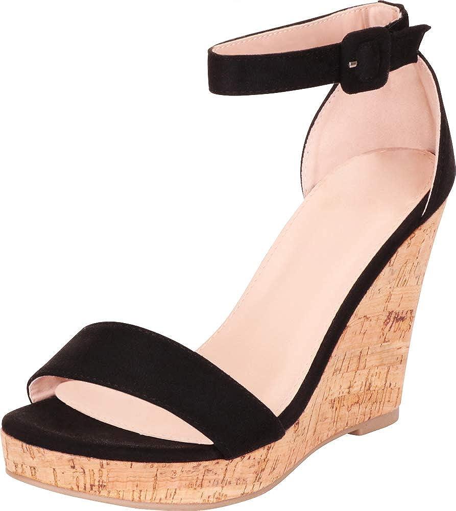 Cambridge Select Women's Open Toe Single Band Ankle Strap Chunky Platform Wedge Sandal