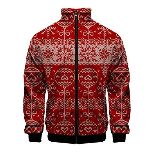 KPILP Herren 3D Druck Sweatjacke Weihnachten Gedruckt Digital Print Realistischer Mantel Lange Ärmel mit Reißverschluss Lustig Pullover Sweatshirt Jacke Stehkragen