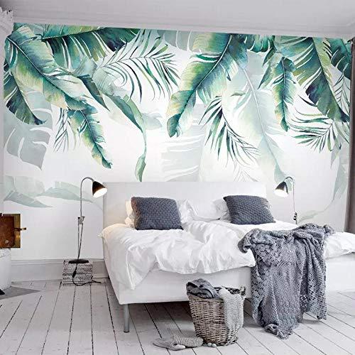 Hojas de plátano murales de papel tapiz sala de estar dormitorio restaurante decoración de la pared de fondo 400×280cm