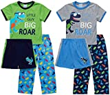 Mon Petit Baby Boys' Pajamas – 6 Piece Short Sleeve T-Shirt, Pajama Bottoms, and Sleep Shorts Set (Infant/Toddler), Size 4T, Dinosaur