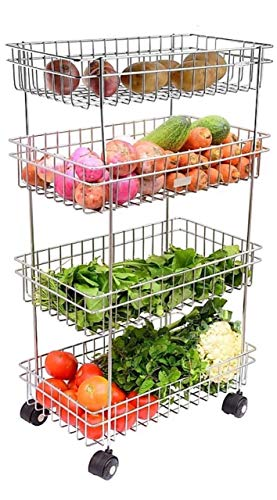 Gyanadh® Kitchen Trolley Portable Modern Storage Rack Design Fruits & Vegetable Onion Cutlery, Spice, Pickles Jars Container Basket Organizer Holder Stand for Kitchen (S.S 4 Layer)