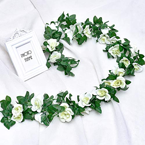 Whaline 2 Pack Fake Rose Vine Flowers Plants, 15ft White Artificial Flower Hanging Rose Garlands, for Home Hotel Office Wedding Party Garden Craft Art Decor, Arch Arrangement Decoration