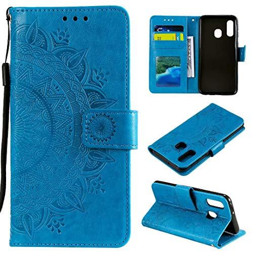 Funda para Samsung Galaxy A20E, Carcasa Libro con Tapa Flip Case Antigolpes Golpes Protectora Cartera PU Cuero Suave para Samsung Galaxy A20E - Mandala Azul