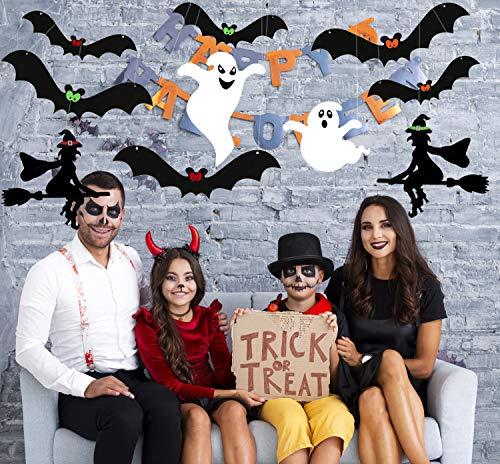 Sayala 11Piezas Festival de Halloween Bat Fantasma y Bruja Adornos tiran de Las Decoraciones del Partido Arcos Inicio la decoración del Partido de Halloween de la Bandera (Negro)