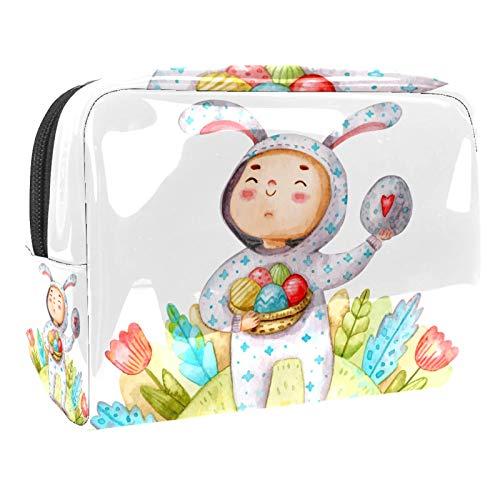 Tragbare Make-up-Tasche mit Reißverschluss, Reise-Kulturbeutel für Frauen, praktische Aufbewahrung, Kosmetiktasche, Aquarellfarbe, Jungen, Ostereier nehmen