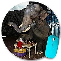 KAPANOU ラウンドマウスパッド カスタムマウスパッド、面白い動物の象とマウスのチェスをする、PC ノートパソコン オフィス用 円形 デスクマット 、ズされたゲーミングマウスパッド 滑り止め 耐久性が 200mmx200mm