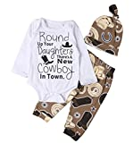 Lily.Pie Newborn Baby Boys Funny Bodysuits with Leggings Caps 3pcs Outfit Clothes (3-6M, Brown)