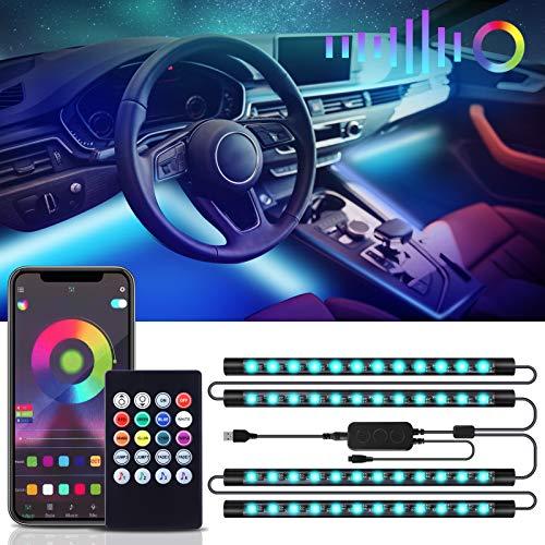 RIWNNI LED Innenbeleuchtung Auto, USB Auto Ambientebeleuchtung, Wasserdichte RGB Musik LED Strip Auto Fußraumbeleuchtung Innenraumbeleuchtung, Auto Innenraum Atmosphäre Licht mit APP & Fernbedienung