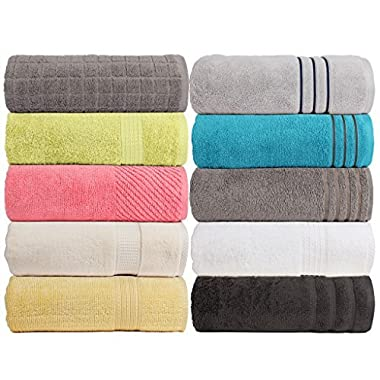 CASA COPENHAGEN Exotic 575 GSM (16.96oz/yd²) 28 x 55 inches 100% Combed Cotton 4 pieces Combo Bath Sheets Towels set in any Assorted Four Colours